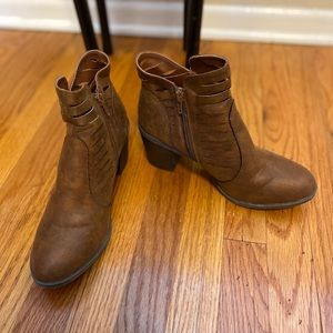 Dark Brown Western Style Ankle Boots